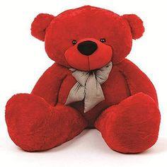 Bitsy Cuddles Soft and Huggable Jumbo Red Teddy Bear - Giant Teddy Bear! Teddy Bear With Heart, Red Teddy Bear, Giant Teddy Bear, Valentine Special, Panda Bear, Cuddling, Kids Toys, Stuffed Animals, Gift List