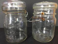 Atlas Easy Seal Pint Clear Glass Jars Wire Bale Vintage Lot of 2   eBay