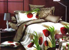 czerwone tulipany 4 częśćiowy komplet pościeli biało beżowy