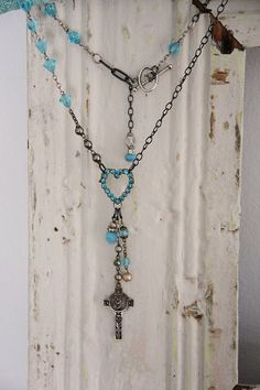 I Heart You~ Vintage cross and heart necklace