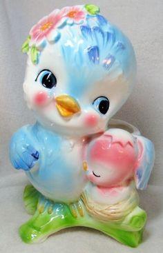 Relpo Mother bluebird with new baby planter, marked Vintage Birds, Vintage Easter, Vintage Love, Vintage Decor, Kitsch, Vintage Pottery, Vintage Ceramic, Vintage Dishware, Chinoiserie