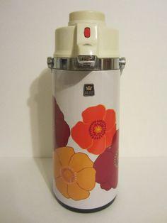 Retro Poppy Art Coffee Air Pot  Vintage Pump Beverage by AsAttic