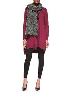-5EYV Eileen Fisher Merino Jersey Layering Dress, Viscose Jersey Leggings & Eco Pebble Box Scarf