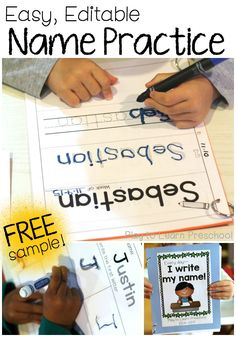 Easy, Printable Name Practice Worksheets Easy Name Practice. Easy, editable name practice sheets. Help children learn to write their name. Name Writing Activities, Name Writing Practice, Handwriting Practice Worksheets, Preschool Literacy, In Kindergarten, Kindergarten Name Practice, Preschool Binder, Literacy Activities, Preschool Names