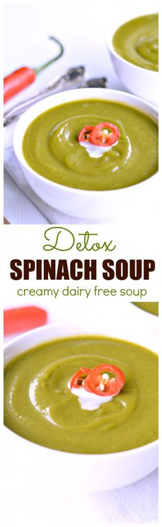 "I will definitely make this to cleanse my body after Christmas! Freezable soup low calorie and made in 30 minutes! This detox spinach soup is also dairy free so everyone will love it! ""Ninety-nine percent of the failures come from people who have the ha Dairy Free Soup, Dairy Free Recipes, Low Carb Recipes, Spinach Soup, Creamy Spinach, Smoothie Detox, Detox Soup, Healthy Soup Recipes, Healthy Smoothies"