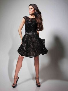 Tank Top Short Black Lace A Line Homecoming/Cocktail Dress Otb0009