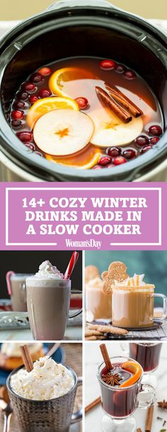 Just when you thought you couldn't love your slow cooker any more than you already do, these cozy winter drinks appear! Make these cozy winter drinks on any cold day in your slow cooker. Slow cooker spiced wine will be your new favorite hot drink thi Winter Cocktails, Fall Drinks, Fun Cocktails, Party Drinks, Mixed Drinks, Slow Cooking, Crockpot Drinks, Spiced Wine, Alcohol Recipes