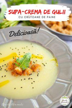 Rețeta simplă și rapidă de supă de gulii. O supă gustoasă, hrănitoare, cu multe vitamine. Servită cu câteva crutoane crocante, este un deliciu! #gulii #supa #retetedesupa #supacrema #vegan #depost #retetevegane #retetedepost #retete #reteteromanesti #mancare #retetesimple #demancare #vegetal #legume #supadelegume Broccoli, Panna Cotta, Food And Drink, Pudding, Ethnic Recipes, Desserts, Dulce De Leche, Custard Pudding, Deserts