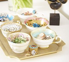 gold tray with teacups // Dressing Table Decorating Ideas // Vanity Table // Makeup Organization // Beauty Organization // Jewelry Organization
