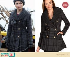 Mary/Snow's grey plaid coat with knitted collar on Once Upon a Time.  Outfit details: http://wornontv.net/9908/