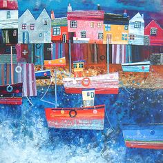 Harbour Houses, Mousehole - Simon Hart   Artist   Dartmouth UK