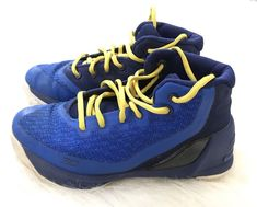 35dd8fb43b860 UA Under Armour Stephen Curry Size 1 Youth Kids Blue Yellow Basketball  Shoes