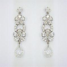 Nina Odeta Crystal Ivory/off-white Organza Drop Earrings Wedding/bridal Engagement & Wedding Bridal & Wedding Party Jewelry