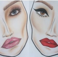 chanel-and-louboutins: Day 2 night look Learn Makeup, How To Do Makeup, Beauty Makeup, Eye Makeup, Drugstore Beauty, Paper Makeup, Mac Face Charts, Summer Lipstick, Makeup Face Charts