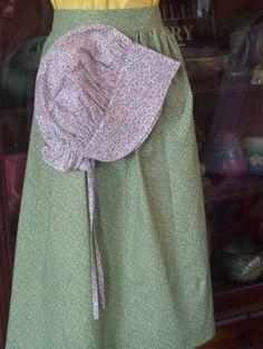Adult-Colonial-Pioneer-Prairie-Civil-War-Trek-Long-Apron-an-Bonnet-Set-W-O-Dress