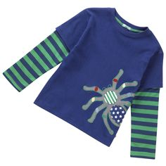 Creepy crawly fans will love this mock-layered long sleeve tee by Piccalilly with friendly appliqué spider! Made from the softest 100% organic cotton. Available in sizes 2-3y and 3-4y.