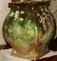 STUNNIG Huge Signed Royal Bonn Portrait and Scenic Vase Decorated All from allthingslovelee on Ruby Lane