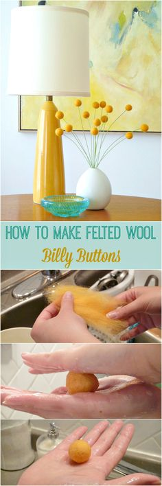 """While making felted wool beads for my DIY felt wool bead necklace, theyellow wool beads I was felting started to really look like Yellow Craspedia (small, spherical flowers also known as """"Billy Buttons"""" or """"Woolly-heads"""").…"""