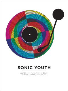Sonic Youth concert poster at the Knitting Factory- Spokane Jul 2009 hand made 4 color silkscreen print poster measures 18 inches x 24 inches signed and numbered edition of 165 artist: Jason Munn (The Small Stakes) Gig Poster, Poster Prints, Graphic Posters, Tour Posters, Band Posters, Jason Munn, Illustration Photo, Indie Music, Music Film