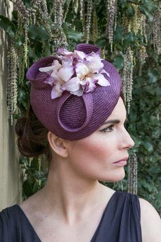 Purple Straw Hat with Vintage Stle Velvet Orchids BY SOPHIE #millinery #hats #HatAcademy