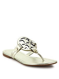Tory Burch Miller Metallic Leather Thong Sandals - Spark Gold - Size