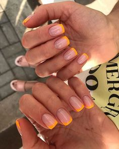 Nails Yellow, Pink Nails, My Nails, Nails Gelish, Shellac Nail Colors, Short Nails Shellac, Short Nail Manicure, Gel Manicure, Pretty Nail Colors
