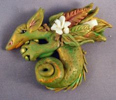 Jungle Dragon - I made this dragon in 2008 at my first work shop with Christi by FantasyClay