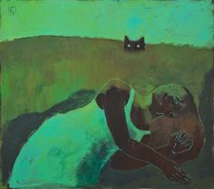 Title unknown (2014) by Russian artist Elena Shumacher (b.1969). Acrylic on canvas, 80 x 90 cm. source: art now. via pink pagoda studio