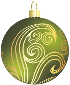 Transparent Green and Gold Christmas Ball Clipart