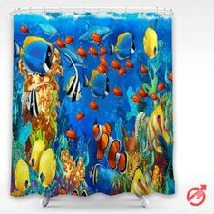 Cheap Underwater dolphin sea seabed fish corals underwater ocean tropical Shower Curtain