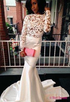 Mermaid Prom Dress,White Prom Dresses,Long Evening Formal Dress PD20182352