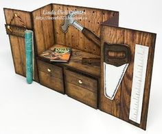 Linda Vich Creates: Nailed It Workbench Birthday. Detailed workbench card created using the new Wood Textures DSP and the Nailed It Bundle. Birthday Cards For Boys, Masculine Birthday Cards, Masculine Cards, Birthday Box, Boy Cards, Pop Up Cards, Fancy Fold Cards, Folded Cards, Bridge Card