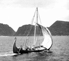 The Vikings sailed in longships similar to the replica in this photo. They were able to bring their language all the way to such places as the steppes of Russia in the east and America in the west.