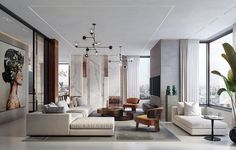 Art Deco style modern white living room decor with white sectional and chaise, modern minimalist style living room design 47 Inspirational Modern Living Room Decor Ideas Luxury Home Decor, Luxury Interior, Modern Interior Design, Luxury Homes, Guest Bedroom Home Office, Modern White Living Room, White Sectional, Appartement Design, Art Deco Stil