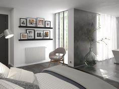 Chambre aménagée avec un radiateur design Mythik Thermor #objetconnecte