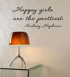 Amazon.com: Happy girls are the prettiest Audrey Hepburn Vinyl wall art Inspirational quotes and saying home decor decal sticker: Home & Kitchen