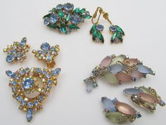 Three GORGEOUS Sets Rhinestone Brooches and Earrings from 1950s
