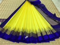 Yellow with blue border and pallu kanchi silk cotton saree