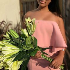Glamorous @thefashionisha rocked our #JarloLondon #Lily maxi #dress in blush from the latest #HighSummer15 collection ~ she simply looks flawless ! Beautiful dress and lilies ~ that's all she needed ❤!