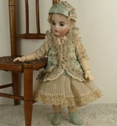 Marvelous Antique Aqua Silk Satin Small French Bebe Dress and Bonnet from mybebes on Ruby Lane