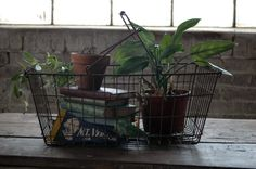 Vintage Wire Grocery Basket.  Rustic storage for any room.