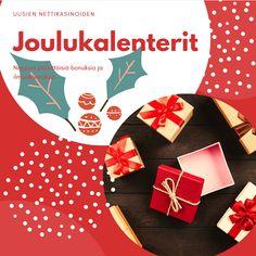 Casino joulukalenterit 2019 on esitelty sivullemme. Joulukalenterista löytyy paljon hyviä bonuksia, ilmaiskierroksia ja ilmaisvetoja. Tsekkaa itse! #joulukalenterit #casinojoulukalenteri #nordicbet #betsson #mrgreen