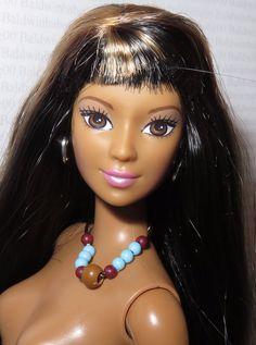 ^^ NUDE BARBIE ~ RAVEN BRUNETTE BROWN EYES CALI GIRL LEA DOLL FOR OOAK #Mattel