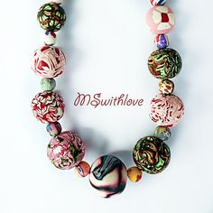 handmade polymer clay necklace gypsy necklace by MSwithlove