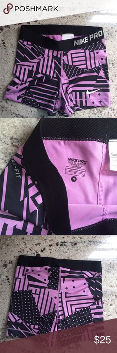 Nike Pro Shorts Beautiful purple and black designed shorts. Super comfy and lightly worn, in great condition. No pilling, stains, or tears. Accepting any offers! Nike Shorts