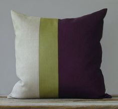 Linden Green and Purple Color Block Pillow by JillianReneDecor, $85.00