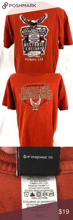 9ea170443c2 Harley-Davidson T-Shirt Mens XL Factory Orlando Size  XL Color  Burnt