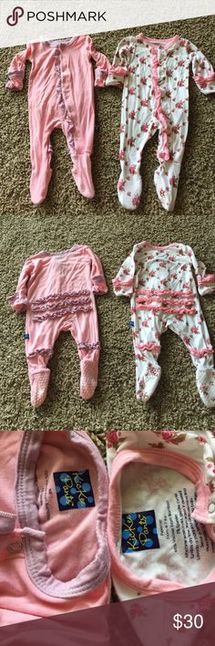 Preemie and NB  2 KicKee pants sleepers Rose is preemie (4-7lbs) and pink is NB  name brand and super soft Other