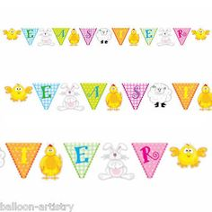 #Happy easter party egg hunt #chick lamb bunny #pennant flag banner bunting,  View more on the LINK: http://www.zeppy.io/product/gb/2/141881367029/