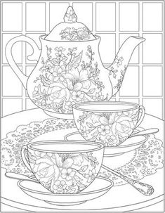 Free tea time coloring pages from Dover Publications Make your world more colorful with free printable coloring pages from italks. Our free coloring pages for adults and kids. Adult Coloring Book Pages, Free Printable Coloring Pages, Free Coloring Pages, Coloring Sheets, Coloring Books, Colouring Pages For Adults, Coloring Pages To Print, Food Coloring, Cat Drawing